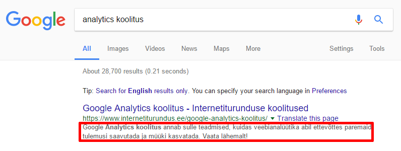 meta kirjeldus google tulemustes