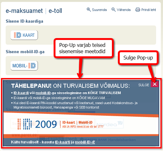 E-maksuameti lehel olev pop-up aken