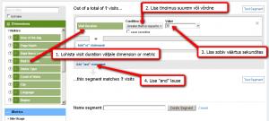 Google Analytics Segment seadistamine