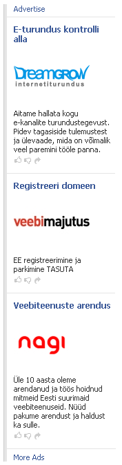 eestikeelsed reklaamid Facebookis