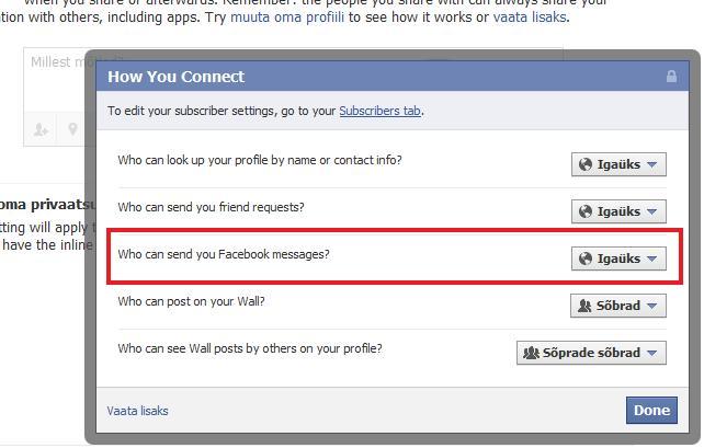 Facebooki seadistamine