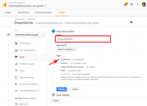 google analytics goal esimene samm