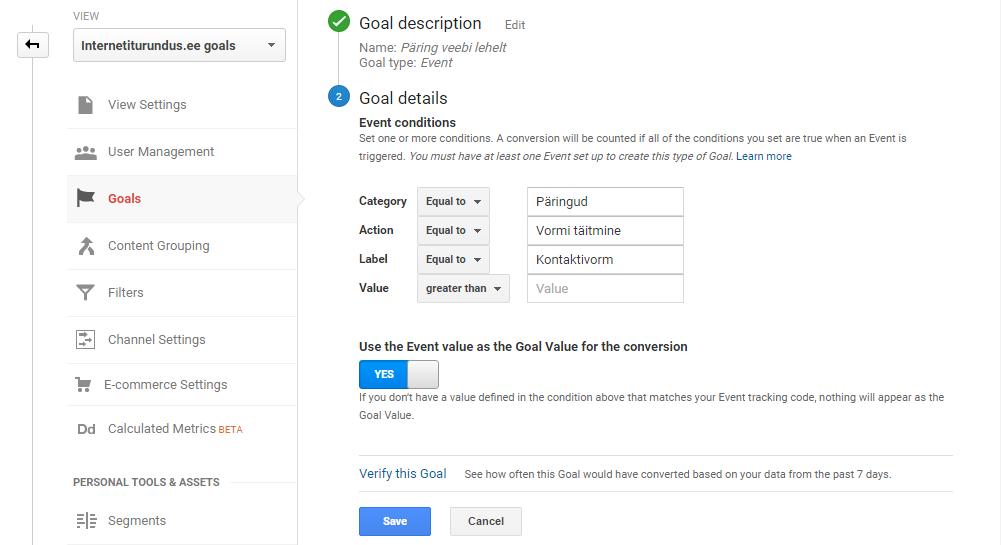 google analytics goal event