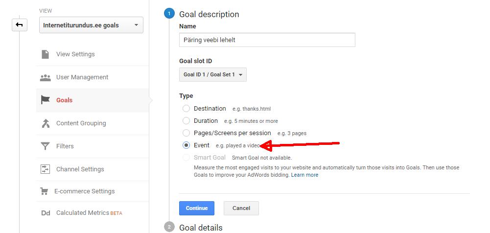 google analytics goal event seaded