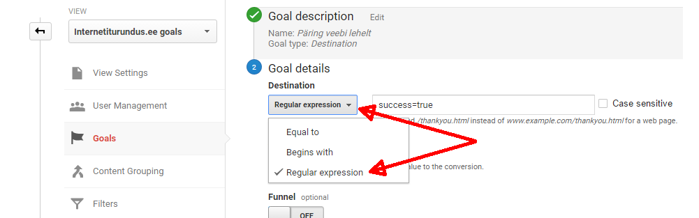 google analytics goal regex
