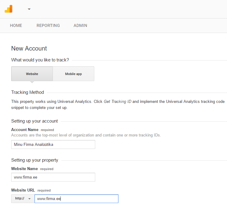 google analytics konto seaded 1