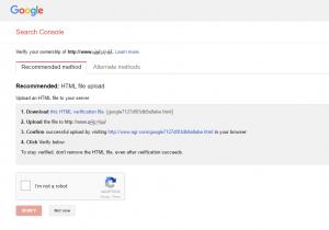 kodulehe optimeerimine google search console kinnitus fail