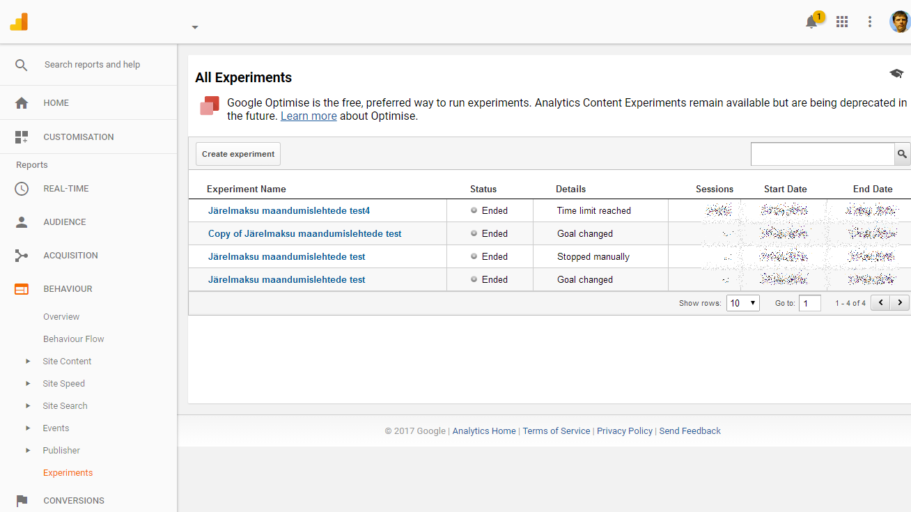 google analytics experiments ab testid