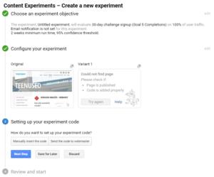 google analytics experiments ab test seaded kood