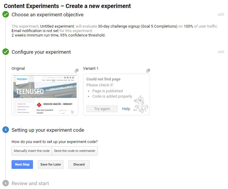 google analytics experiments ab test seaded kood
