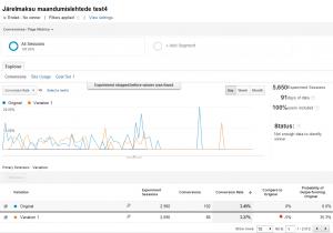 google analytics experiments ab test seaded tulemused