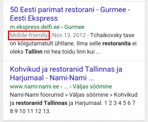 mobile friendly google otsingutulemused