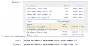 google adwords sihtimine eestis