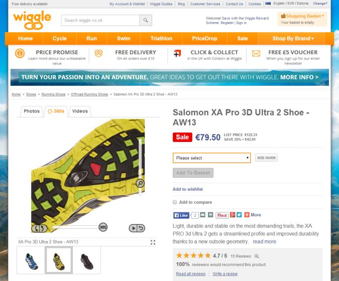 müük e-poes 360°-vaade wiggle.co.uk tootevaade suurendus