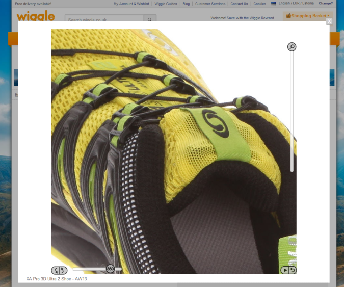 müük e-poes 360°-vaade wiggle.co.uk toode zoom keeratud