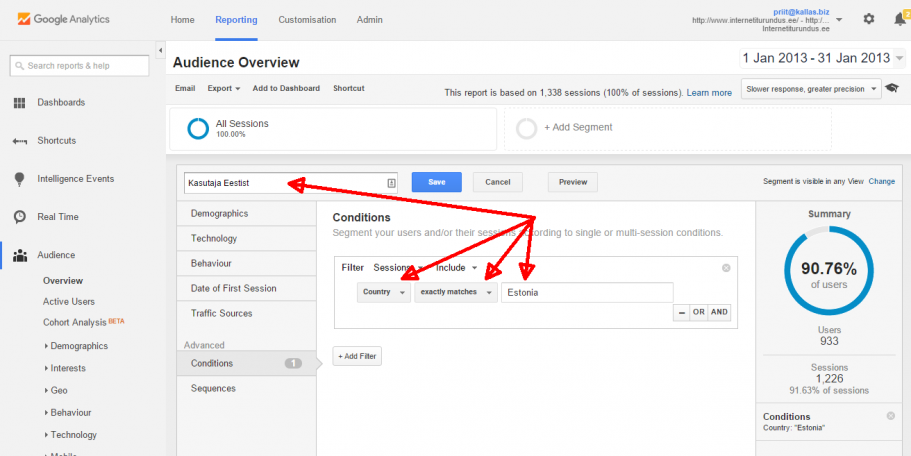 google analytics segmendi loomine