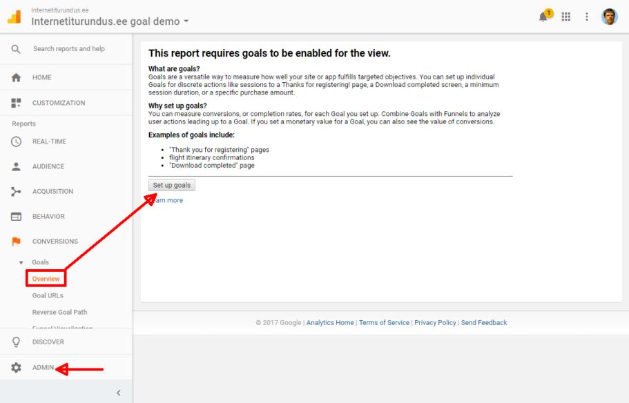 google analytics goalide seadistamine