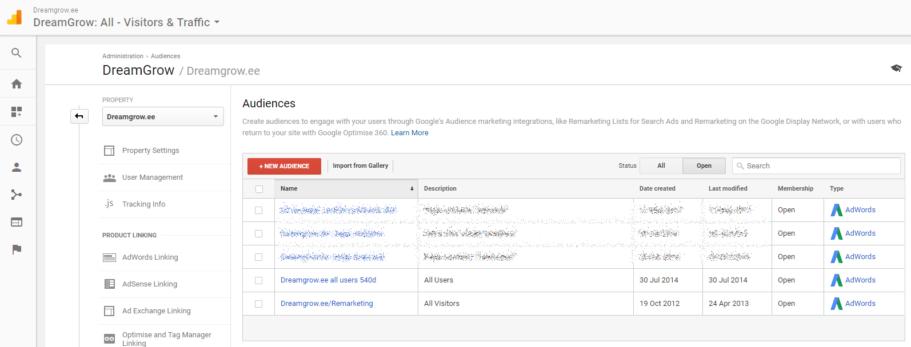 google analytics remarketing audiences
