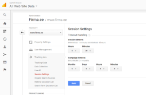 google analytics seaded sessioonid