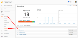 google analytic conversion raport goalid real-time
