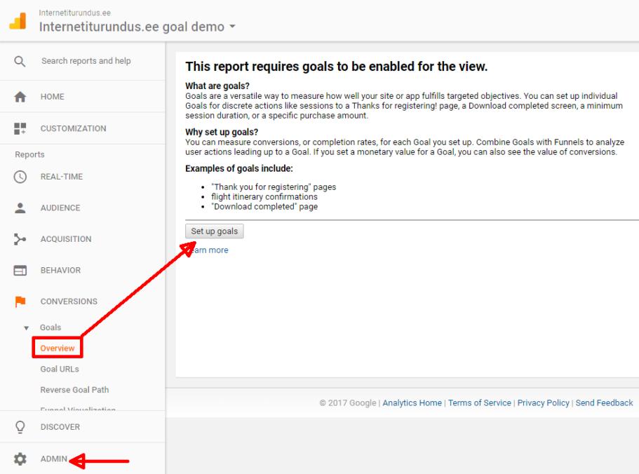 google analytics goal puudu