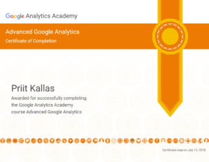 google analytics koolitus sertifikaat