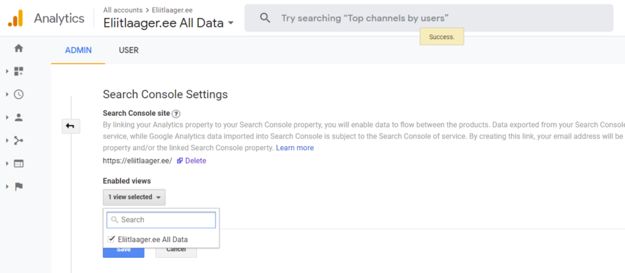 kodulehe optimeerimine google search console analytics seaded seo