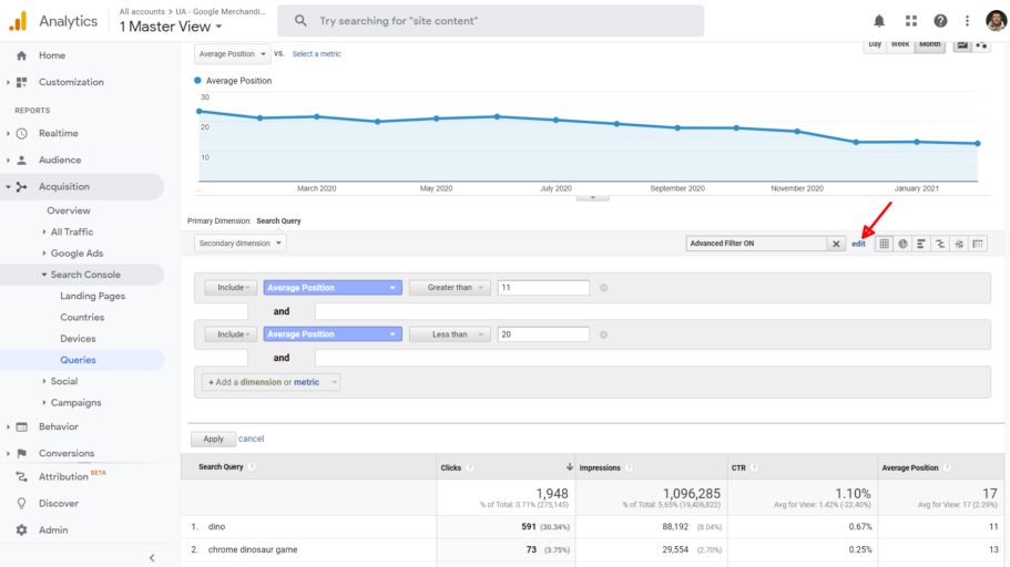 kodulehe optimeerimine google search console filter