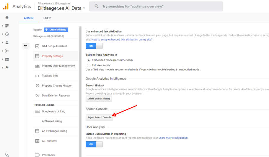 kodulehe optimeerimine google search console lisamine 1 seo
