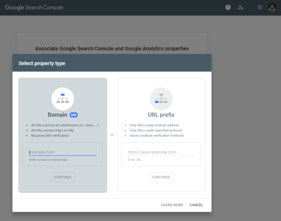 kodulehe optimeerimine google search console lisamine url prefix