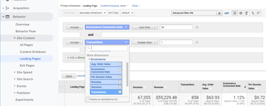ga ecommerce filter conversion rate seaded