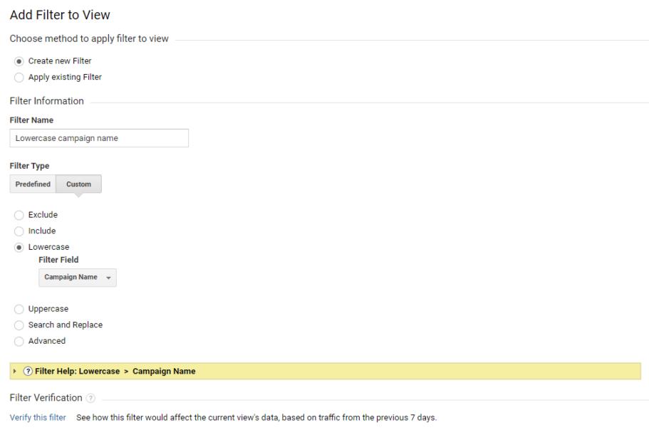 campaign name filtri loomine google analytics