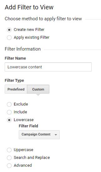 content filtri loomine google analytics