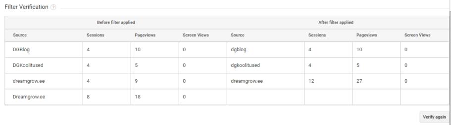 filtri loomine google analytics verification