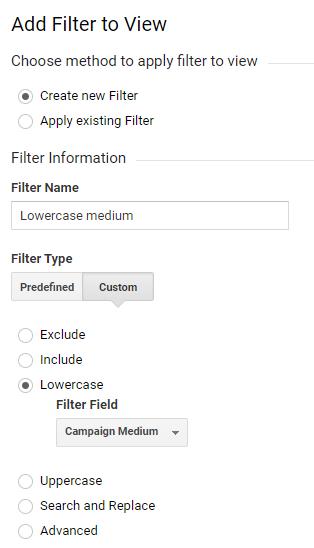 medium filtri loomine google analytics